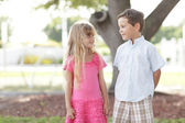 Two cute kids in the park — Stock Photo