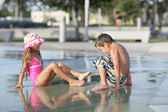 Kids at the water park — Stock Photo