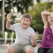 Kids making funny faces - Stock Photo