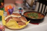 Burger buns and sloppy joe — Stock Photo