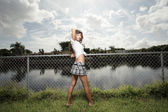 由栅栏构成的女人 — 图库照片