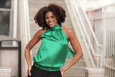 Young black woman smiling — Stock Photo