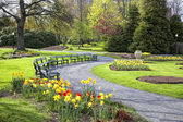 Springtime Public Garden — Stock Photo
