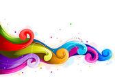 抽象的な虹の波 — ストックベクタ
