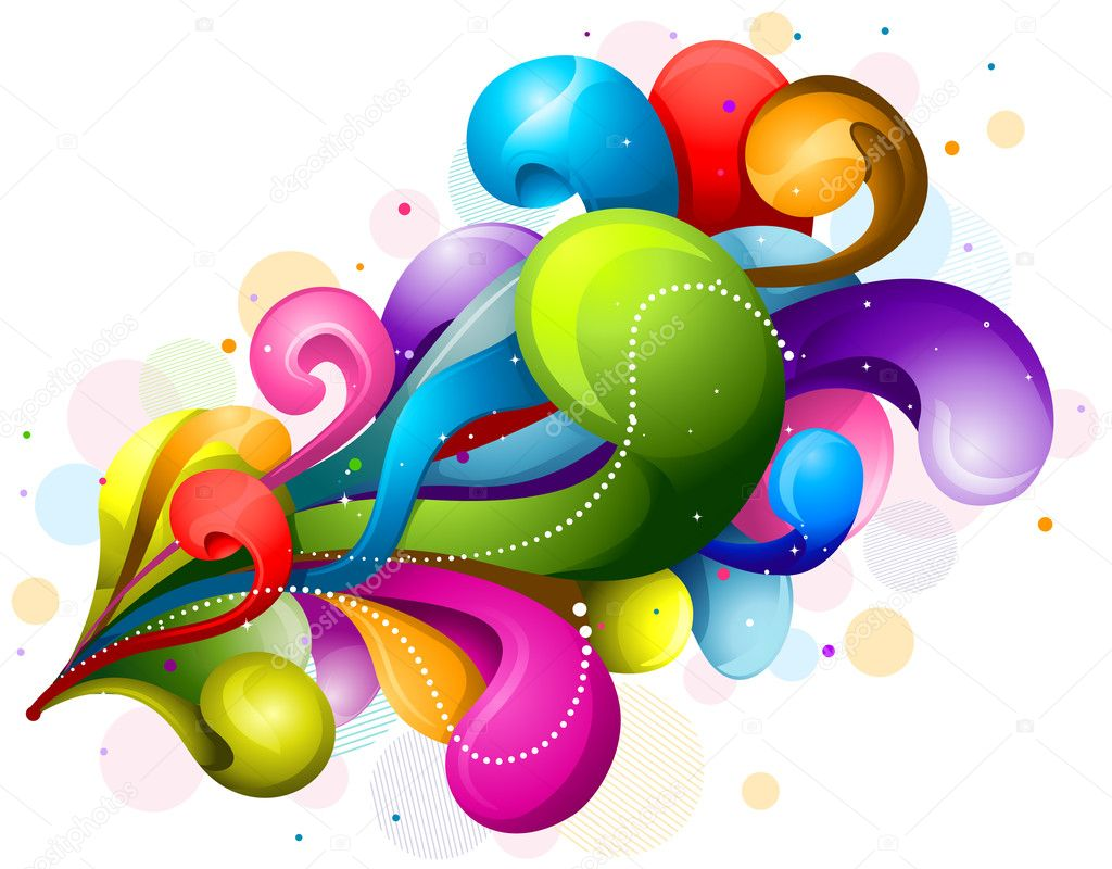 Abstract Rainbow-Colored Swirls Design Against White Background    #3946408