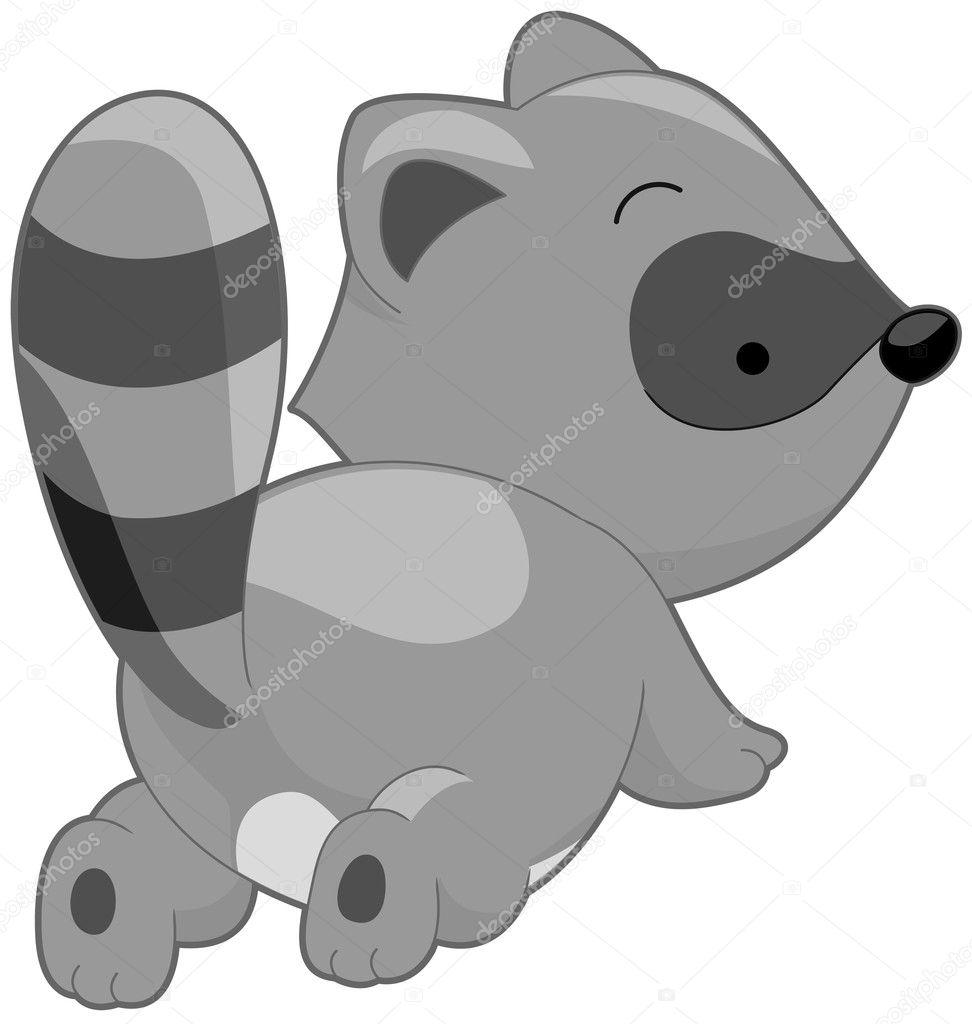 可爱的浣熊 - 图库插图