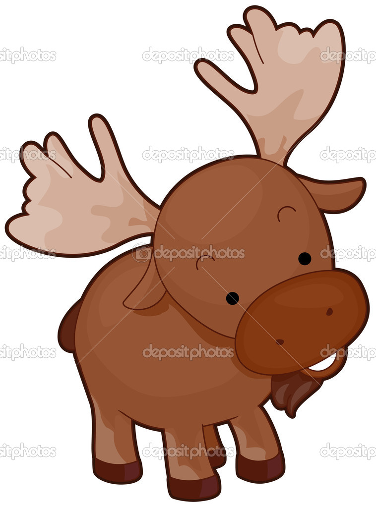 A Cute Moose With Head Tilted Sideways Isolated against White Background — Vettoriali Stock  #3946478
