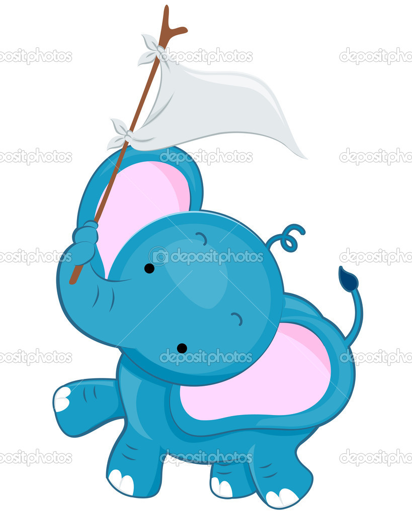 A Cute Elephant Waving a White Flag With His Tusk — Stock Vector #3946488