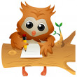 Stock Photo: Owl Writing