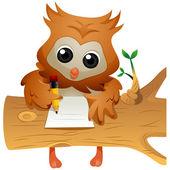 Owl Writing — Stock Photo