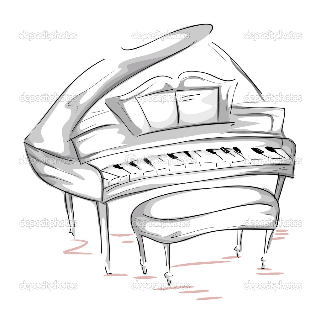 Sketch of a Grand Piano with Clipping Path — Stock Photo #3954033