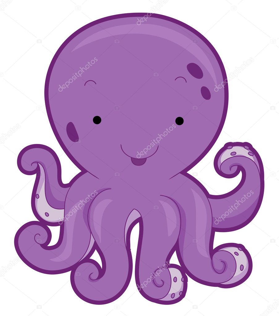 Cute Octopus with Clipping Path — Stock Photo #3954273
