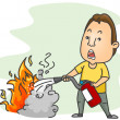 Using Fire Extinguisher — Stockfoto