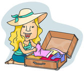Woman Packing — Stock Photo