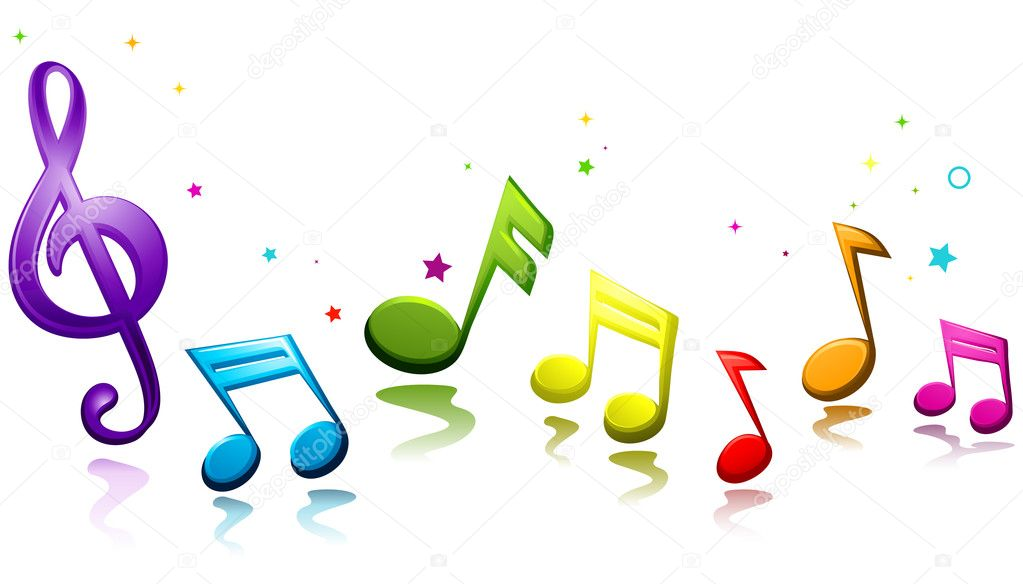 Rainbow Colored Musical Notes Against White Background — Stock Photo #4009748