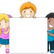 Kids with Blank Board — Stock Photo