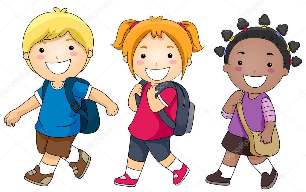 Group Of Kids Walking From School