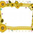 Sunflowers and Bees Frame Design — 图库照片
