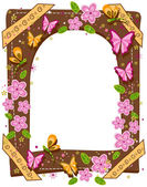 Butterflies and Flowers Frame — Stock Photo