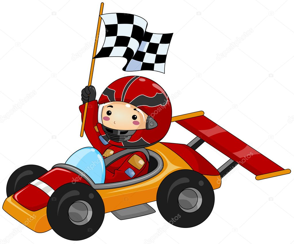 Boy on Go Kart with Clipping Path — Stock Photo #4133059