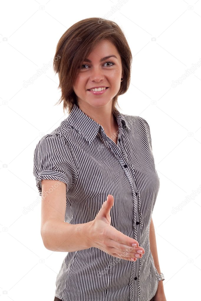 Lovely woman with an open hand ready for handshake   Stock Photo #4003107