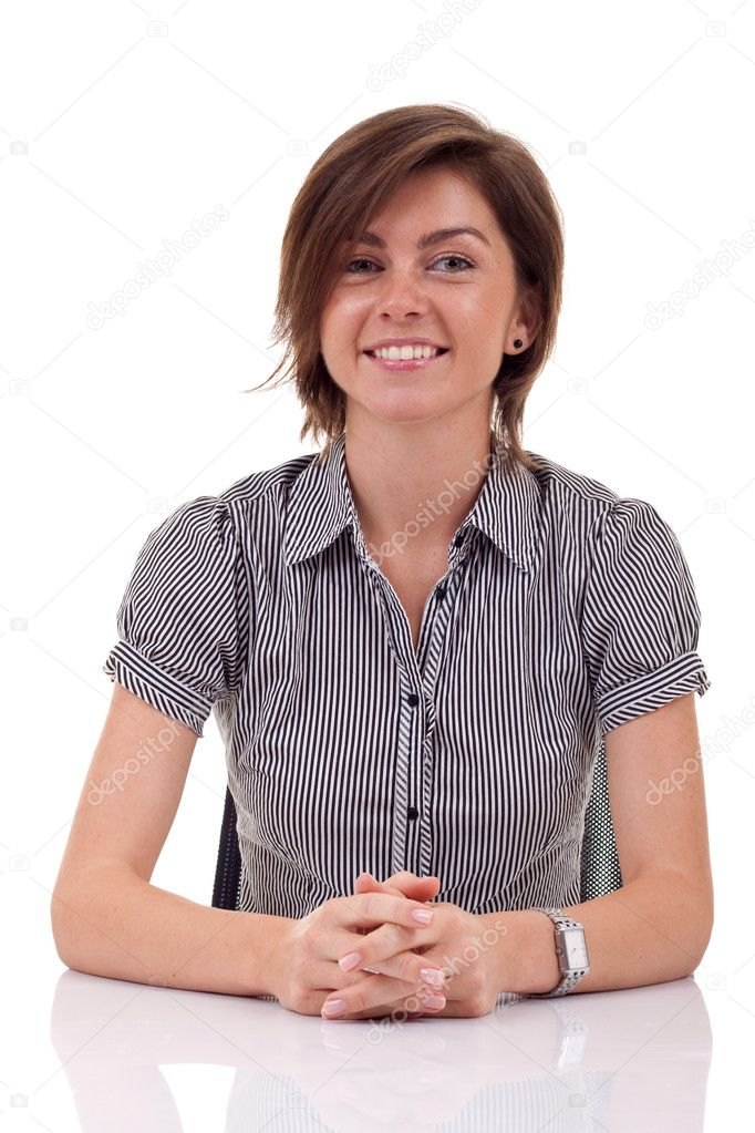 Open for dialogue business woman, at her desk, over white — Stock Photo #4003146