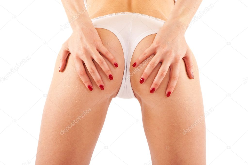 Bottom of a sexy young woman with white panties  — Stock Photo #4003217