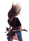 Headbanging guitarist — Stock Photo