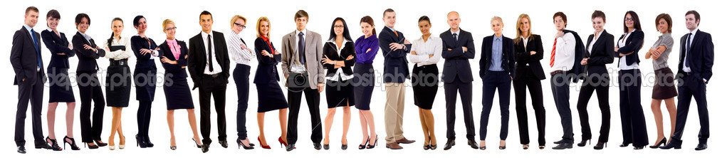 Successful happy business team, isolated on white  — Stockfoto #4198720