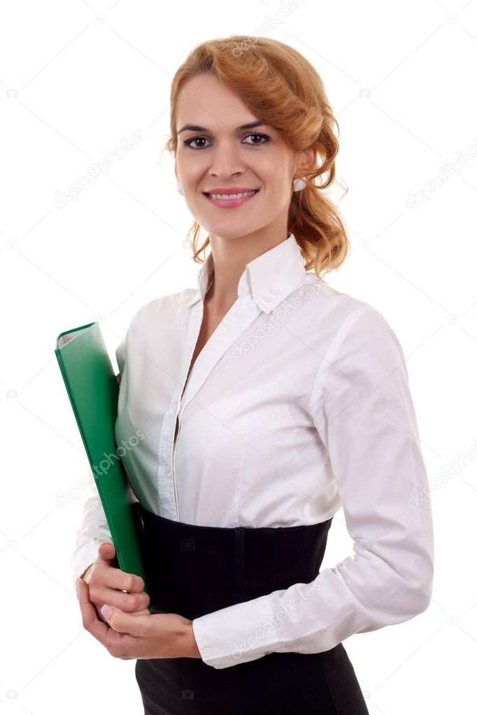 Portrait of elegant business woman with folder in hand looking at camera and smiling   Stock Photo #4198751