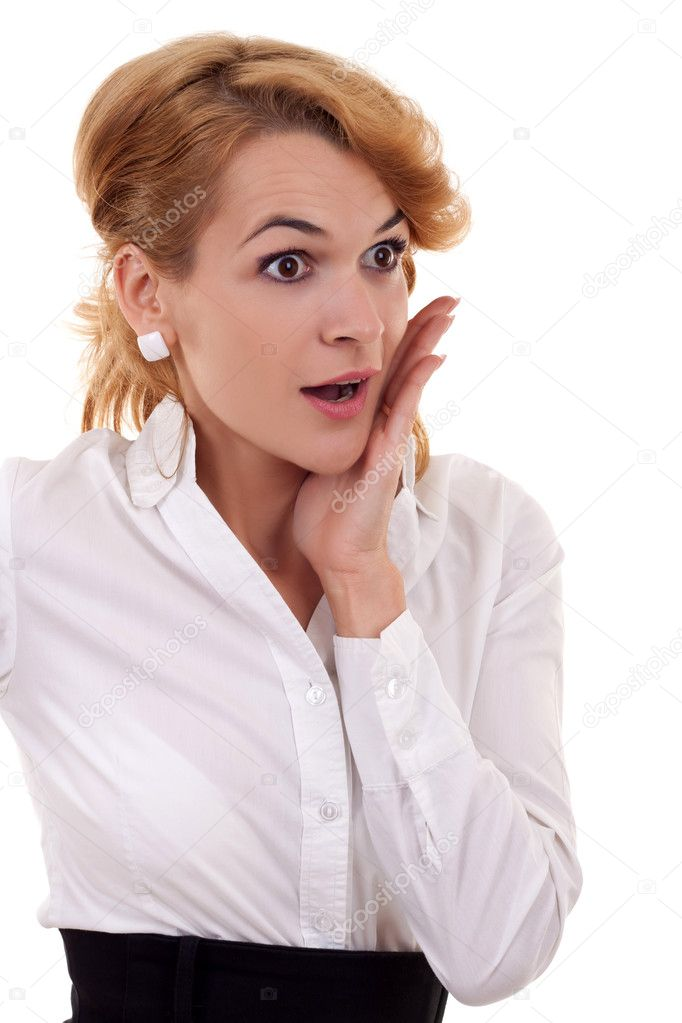 Bright picture of surprised business woman face over white  — Stock Photo #4198771