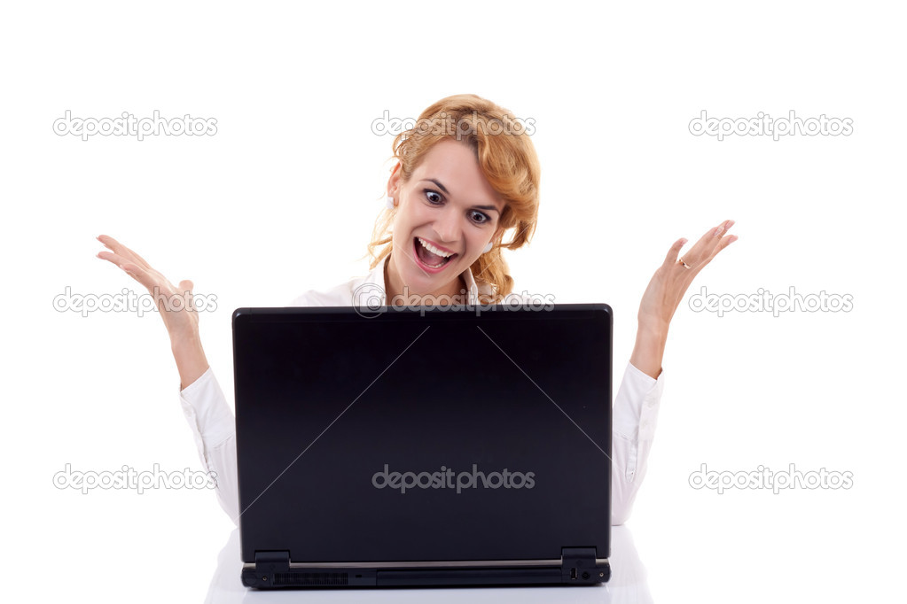 Beautiful young caucasian woman surfing  on the internet  — Stock Photo #4198813