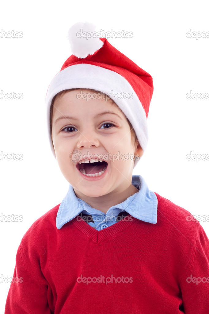 Young boy as Santa Claus laughing,  isolated on white background — Stock Photo #4271571