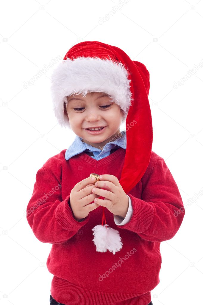 Young boy as Santa Claus playing with his cap, isolated on white background  — Stock Photo #4271577