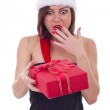 Surprised woman with santa hat — Stock Photo #4302404