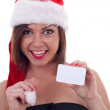 Santa Claus woman with card — Stock Photo