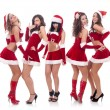 Santa women talking and laughing — Stock Photo