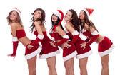 Santa flickor poserar — Stockfoto