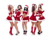 Santa women talking and laughing — Stock Photo