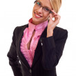 Business woman holding her glasses — Foto de Stock