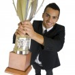 Business man with trophy — Stock Photo