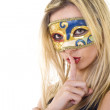 Masked woman making silence gesture — Stock Photo