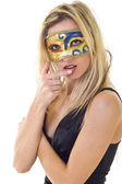 Nice masked blond woman — Stock Photo