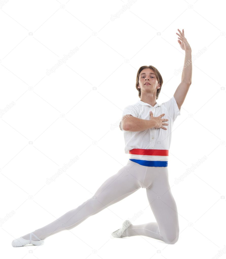 Ballet pose performed by a young male ballet dancer on white  — Stock Photo #4632980