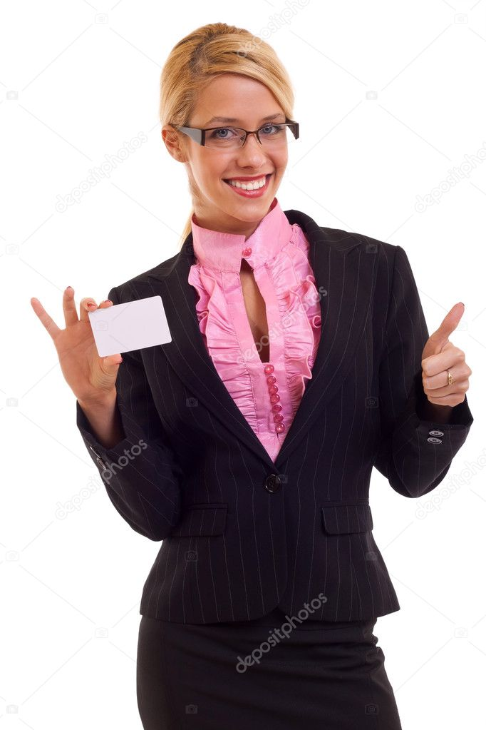 Young business woman presenting white card and thumbs up — Stock Photo #4633134