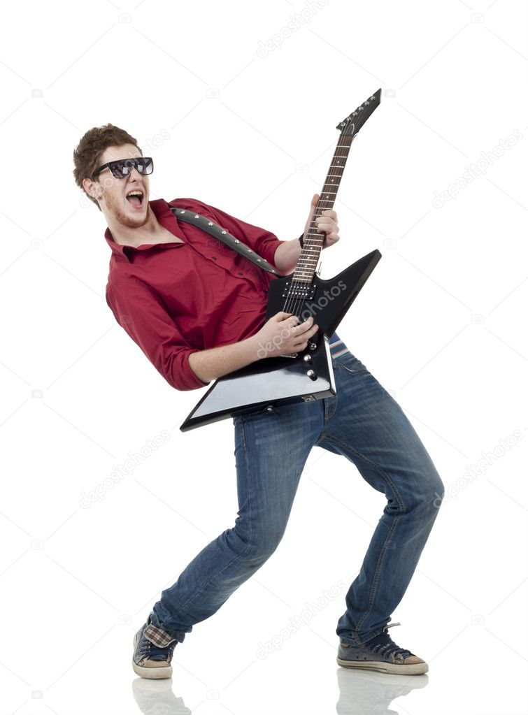 Rock star with a guitar screaming isolated over white background   Stock Photo #4633175