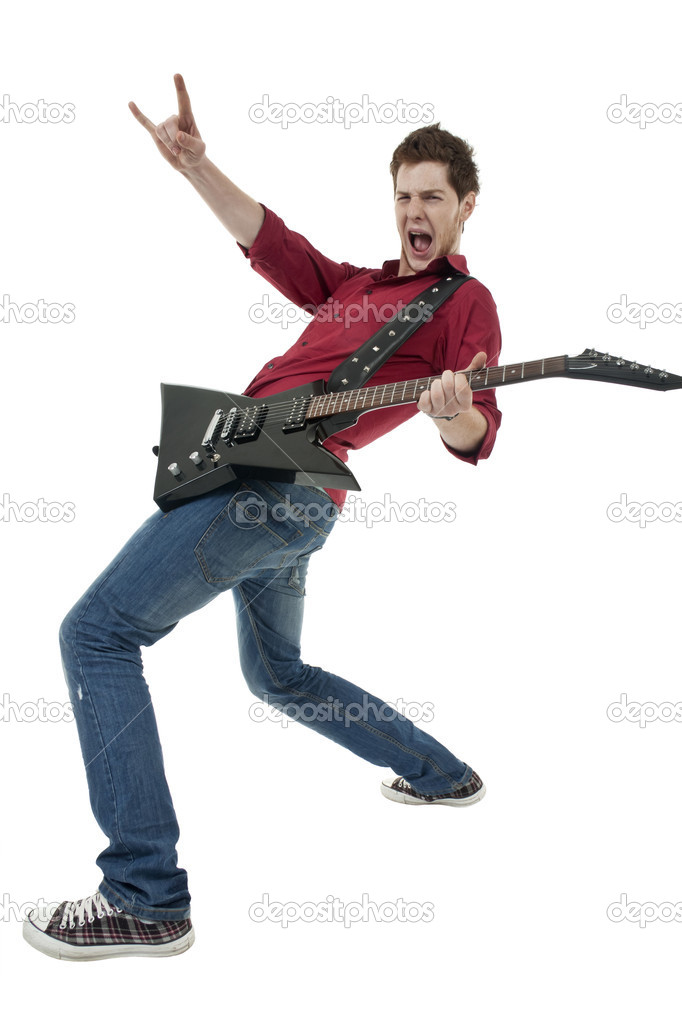 Musician with guitar gesturing rock sign over white — Stock Photo #4633181