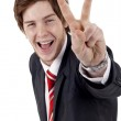Business man making victory gesture — Stock Photo #4748530