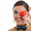 Woman holding red heart - Stock Photo