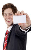 Business man with card — Stock Photo